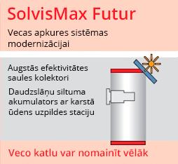 Apkures sistēma SolvisMax Futur ar saules kolektoriem